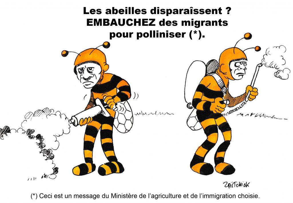 dessin humoristique de Zaïtchick sur des migrants déguisés en abeilles qui pollinisent