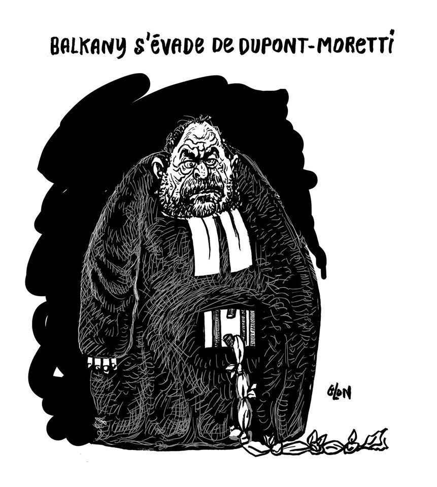 dessin humoristique de Glon sur Patrick Balkany congédiant son avocat Éric Dupond-Moretti
