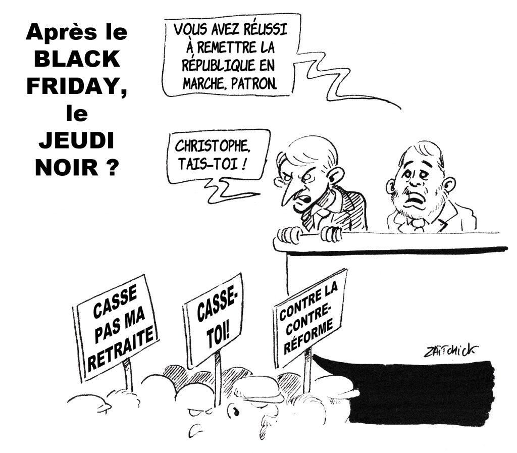 dessin de Zaïtchick sur Emmanuel Macron et Christophe Castaner qui regardent les manifestants du 5 décembre contre la réforme des retraites