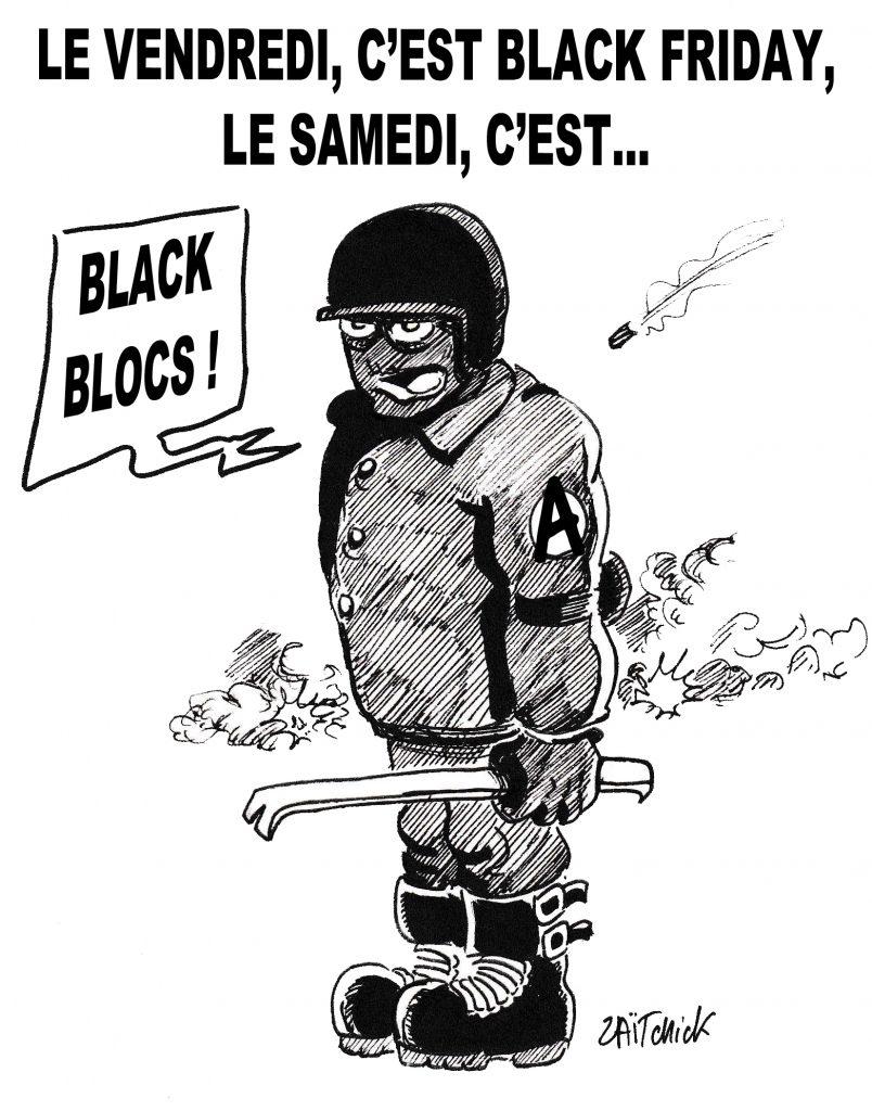 dessin de Zaïtchick sur les Black Blocs