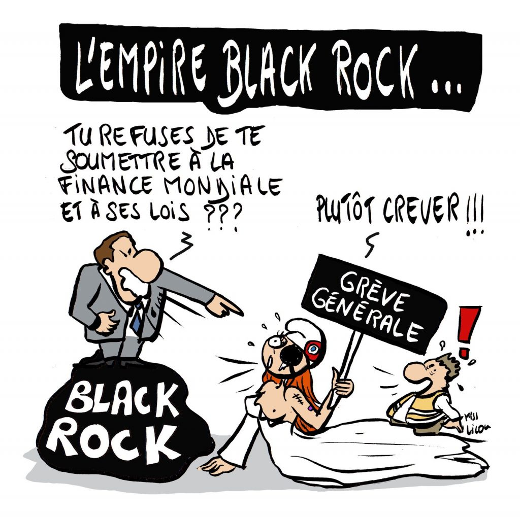 dessin de Miss Lilou sur la réforme des retraites et l'empire Black Rock