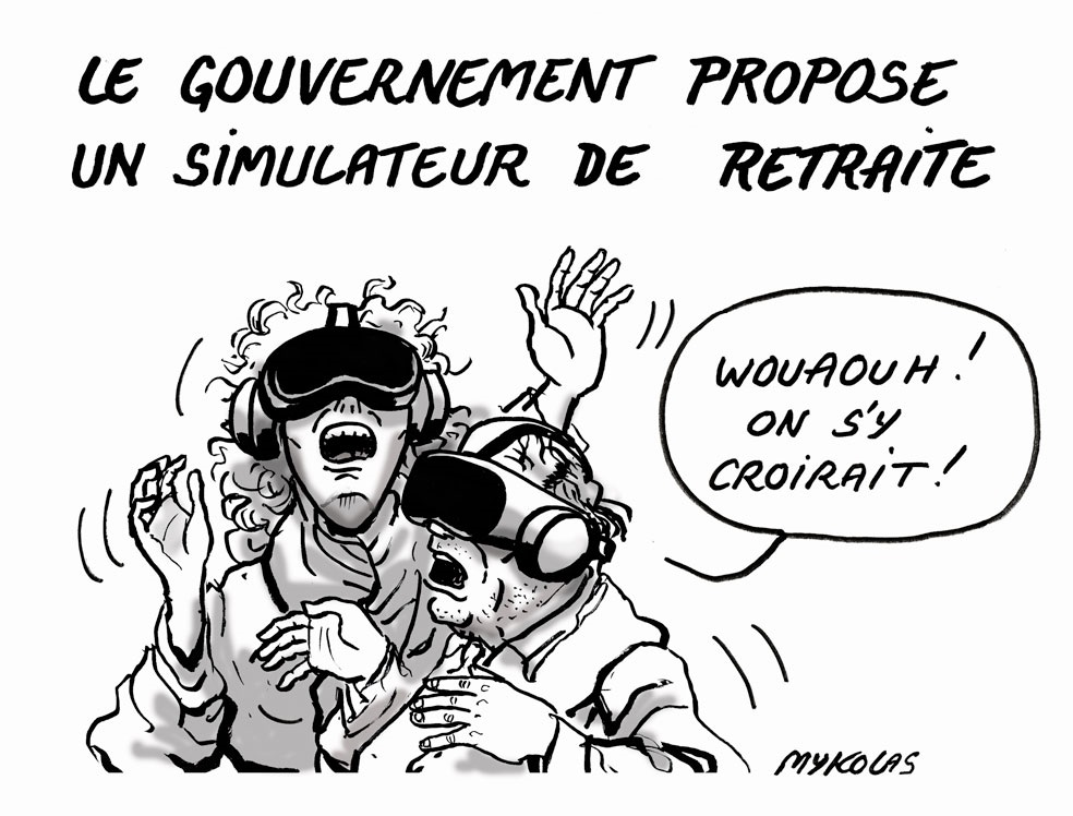 dessin d'actualité humoristique de Mykolas sur le simulateur de retraite proposé par le gouvernement