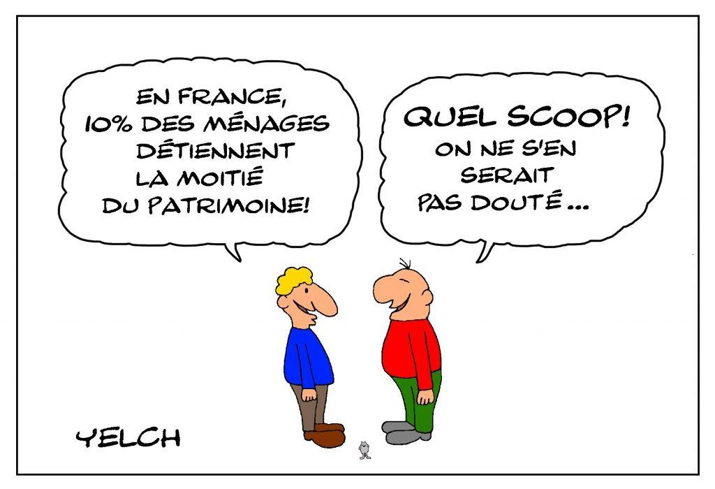 dessin de Yelch sur les inégalités de répartition du patrimoine des français