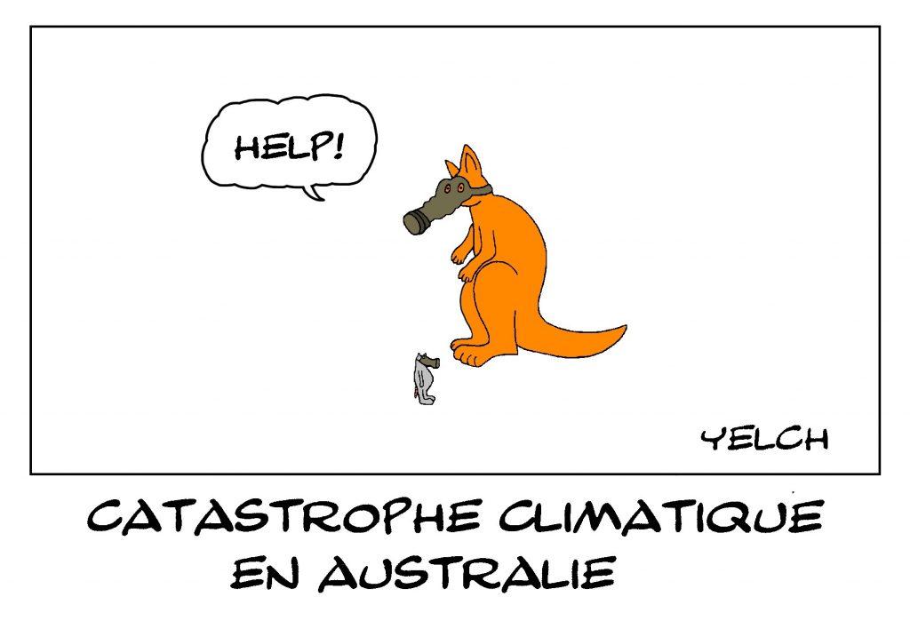 dessin de Yelch sur les incendies en Australie