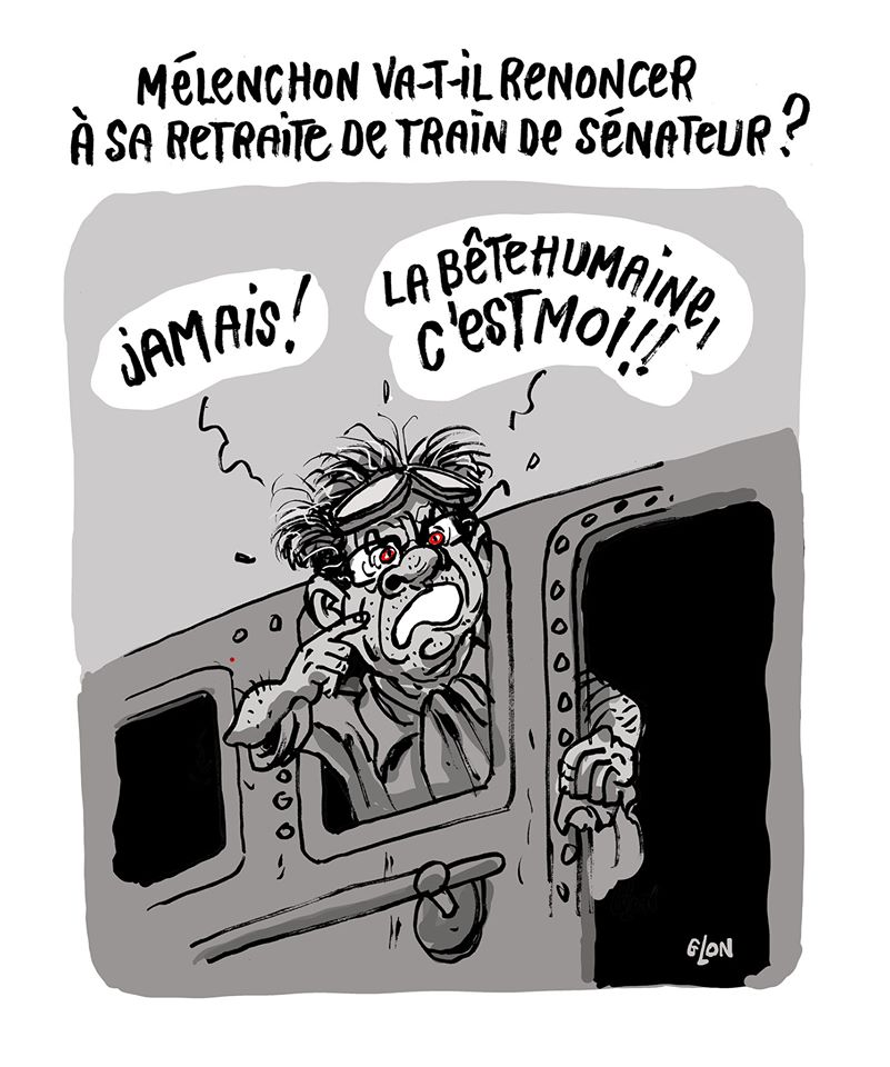 dessin humoristique de Glon sur Jean-Luc Mélenchon et le renoncement d'Emmanuel Macron à sa retraite de président