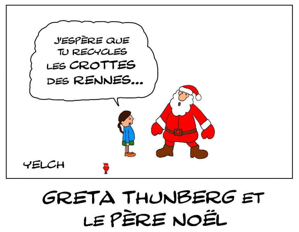 dessin de Yelch sur Greta Thunberg et le Père Noël