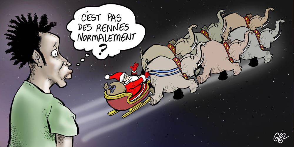 dessin humoristique de Glez sur le Père Noël en Afrique