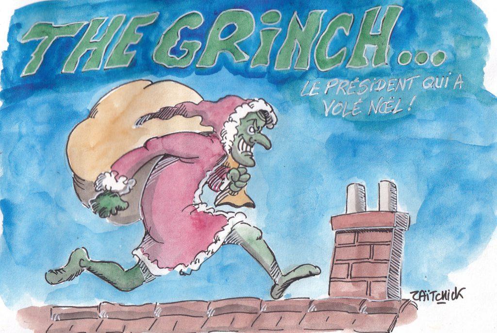 Dessin de Zaïtchick sur Macron, le Grinch, déguisé en Père Noël et volant le Noël des Français
