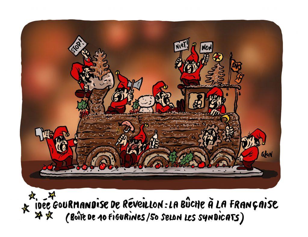 dessin humoristique de Glon sur Philippe Martinez et les grèves de Noël
