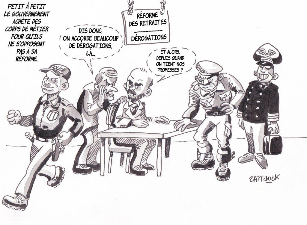 Dessin de Zaïtchick sur Emmanuel Macron et Édouard Philippe qui accordent des dérogations à certains corps de métiers pour qu'ils ne s'opposent pas à leur réforme des retraites