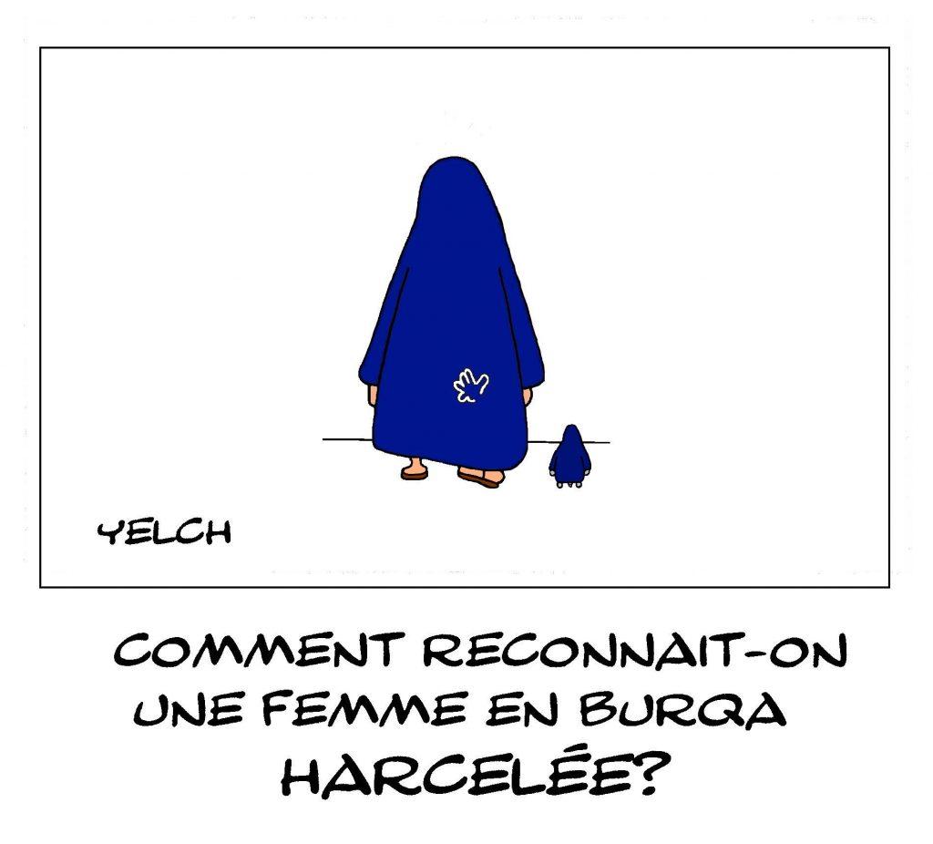 dessin de Yelch sur les femmes en burqa et le harcèlement sexuel