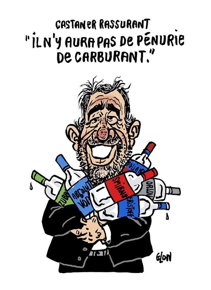 dessin humoristique de Glon sur Christophe Castaner qui tente de rassurer les français sur les pannes de carburant