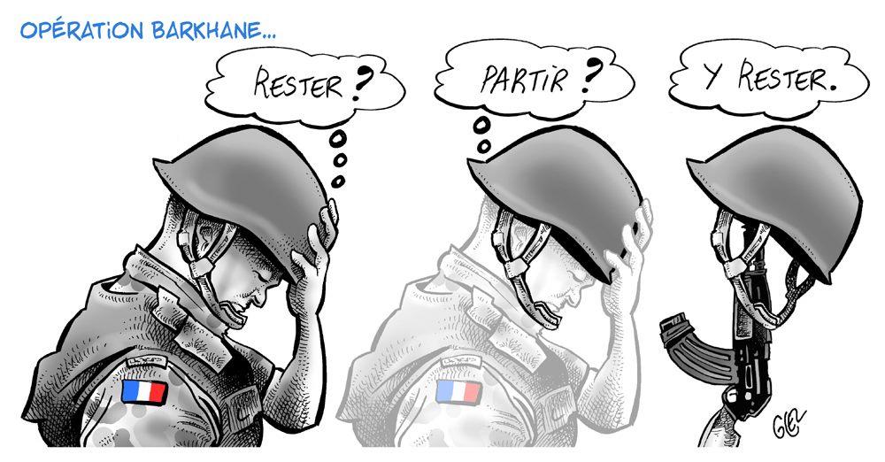 dessin de Glez sur la mort de militaires français lors d'une collision d'hélicoptères dans le cadre de l'opération Barkhane au Mali
