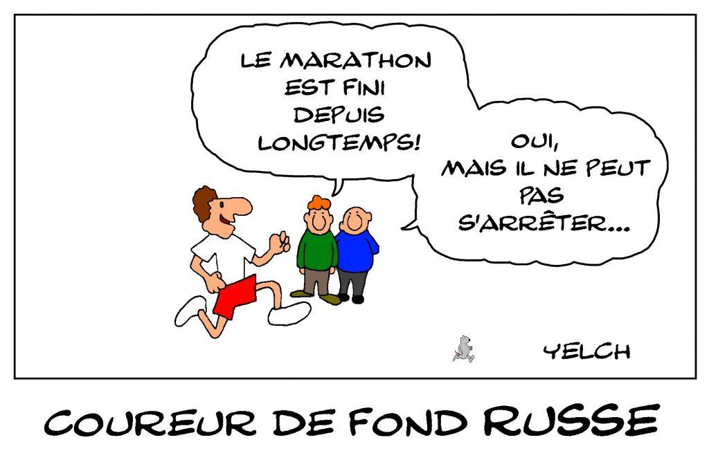 dessin de Yelch sur le dopage dans le sport en Russie