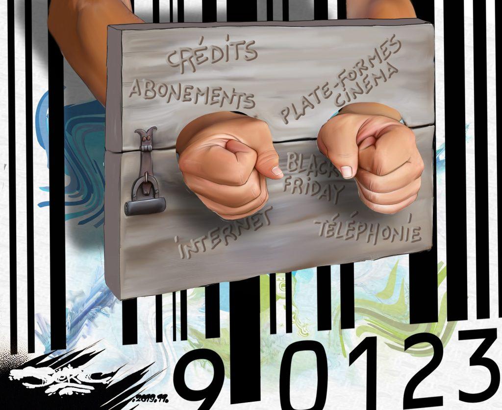 dessin d'actualité humoristique de Jerc sur l'esclavage par la dette