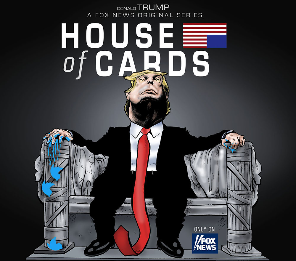 dessin humoristique de Glez sur la série House of Cards et Donald Trump