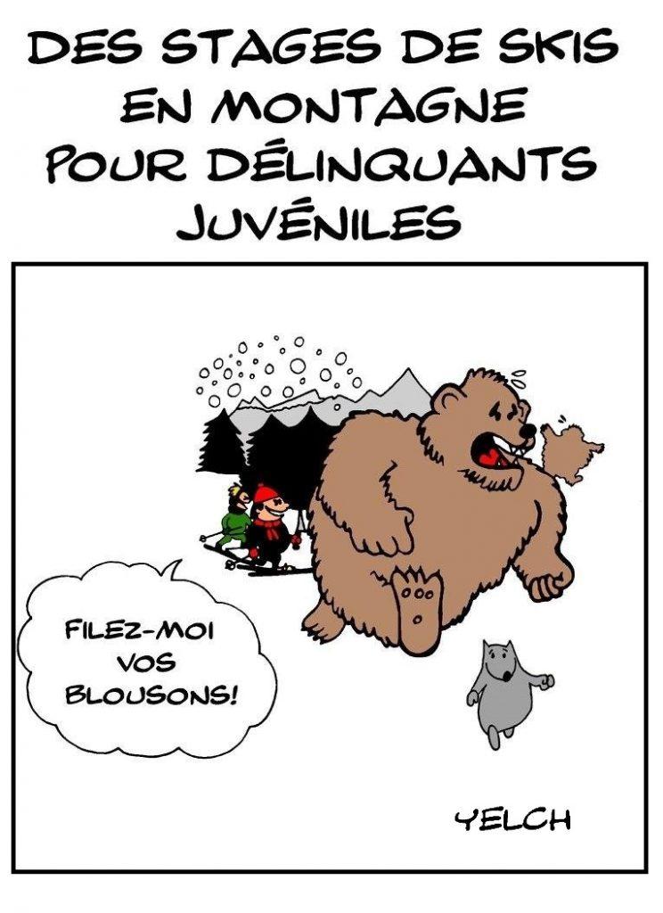 dessin de Yelch sur les stages de skis en montagne pour délinquants juvéniles