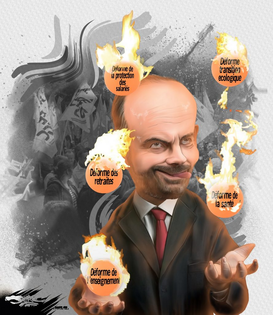 dessin d'actualité humoristique de Jerc sur Édouard Philippe qui joue avec le feu en jonglant avec les réformes