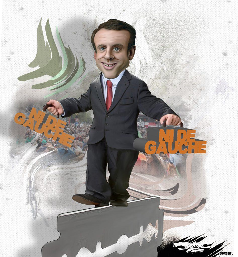 dessin d'actualité humoristique de Jerc sur Emmanuel Macron
