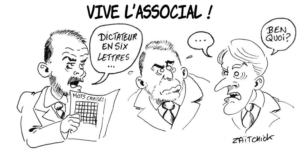 Dessin de Zaïtchick sur Emmanuel Macron, Christophe Castaner et Édouard Philippe cruciverbistes