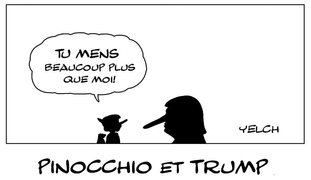dessin de Yelch sur Pinocchio, Donald Trump et les mensonges