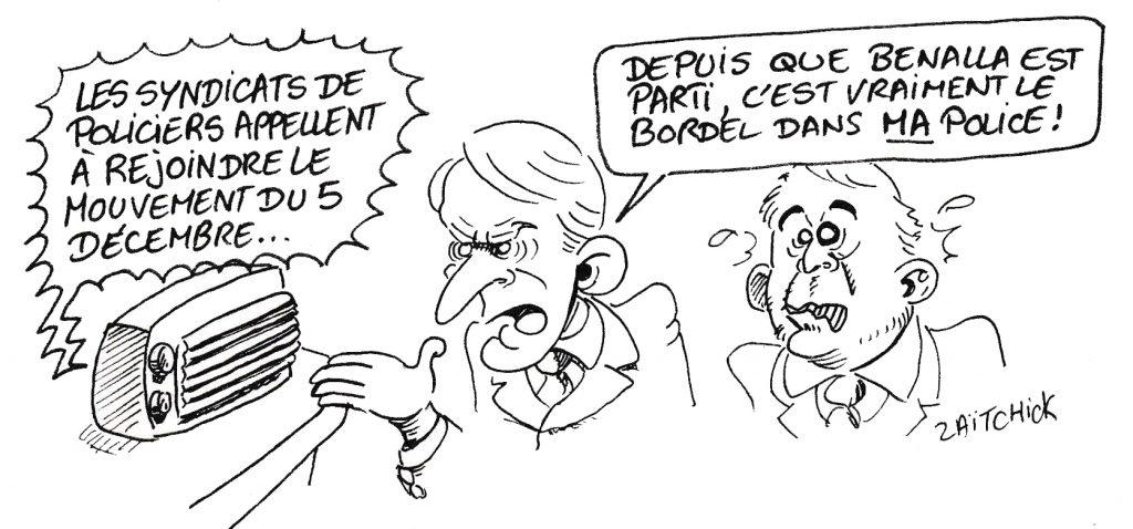 dessin de Zaïtchick sur Emmanuel Macron et Christophe Castaner qui apprennent par la radio que les syndicats de policiers appellent au mouvement du 5 décembre