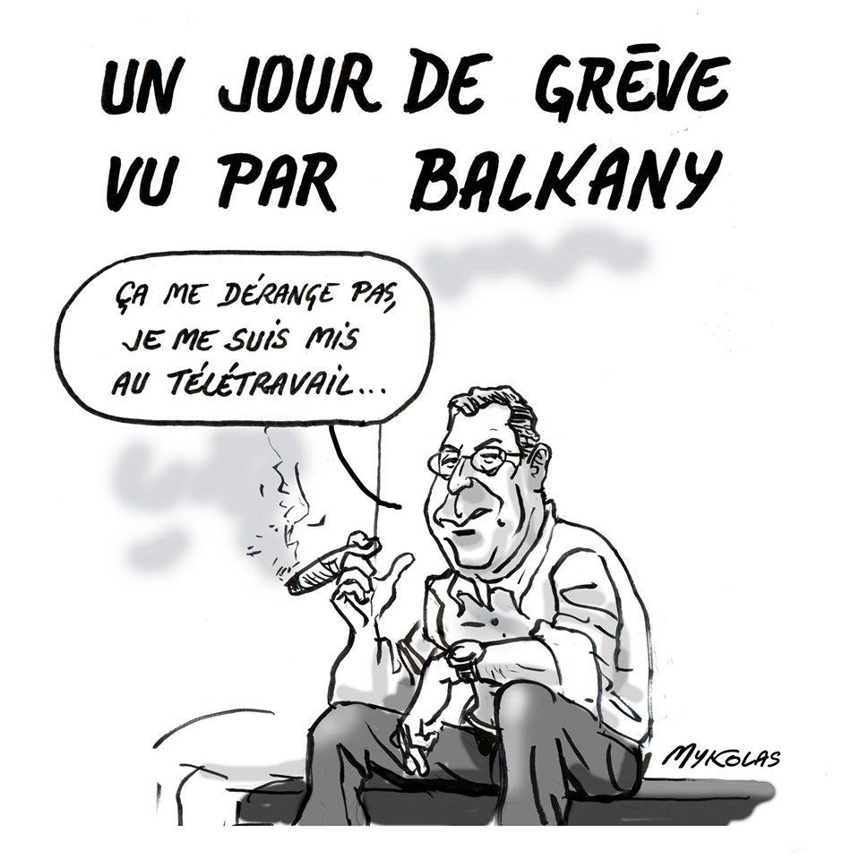 dessin d'actualité humoristique de Mykolas sur Patrick Balkany et la grève du 5 décembre
