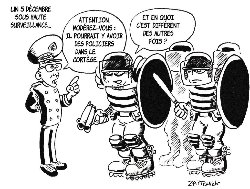 dessin de Zaïtchick sur la manifestation du 5 décembre et le préfet Hubert Lallement