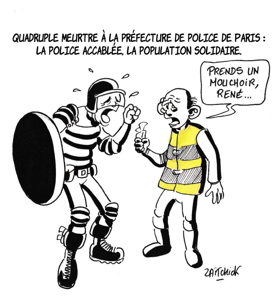 dessin humoristique de Zaïtchick sur les réformes dans l'Éducation Nationale après l'attentat à la Préfecture de Paris et l'incendie de l'usine Lubrizol