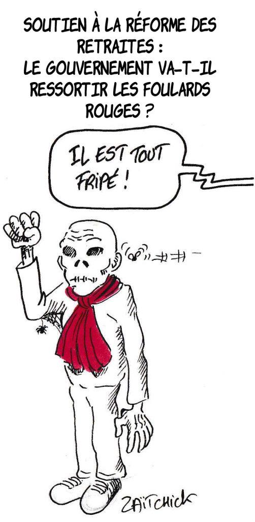 Dessin de Zaïtchick sur un foulard rouge momifié