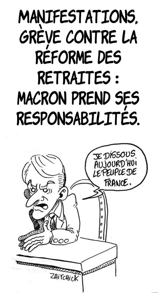 dessin humoristique de Zaïtchick sur les manifestations et les grèves contre la réforme des retraites