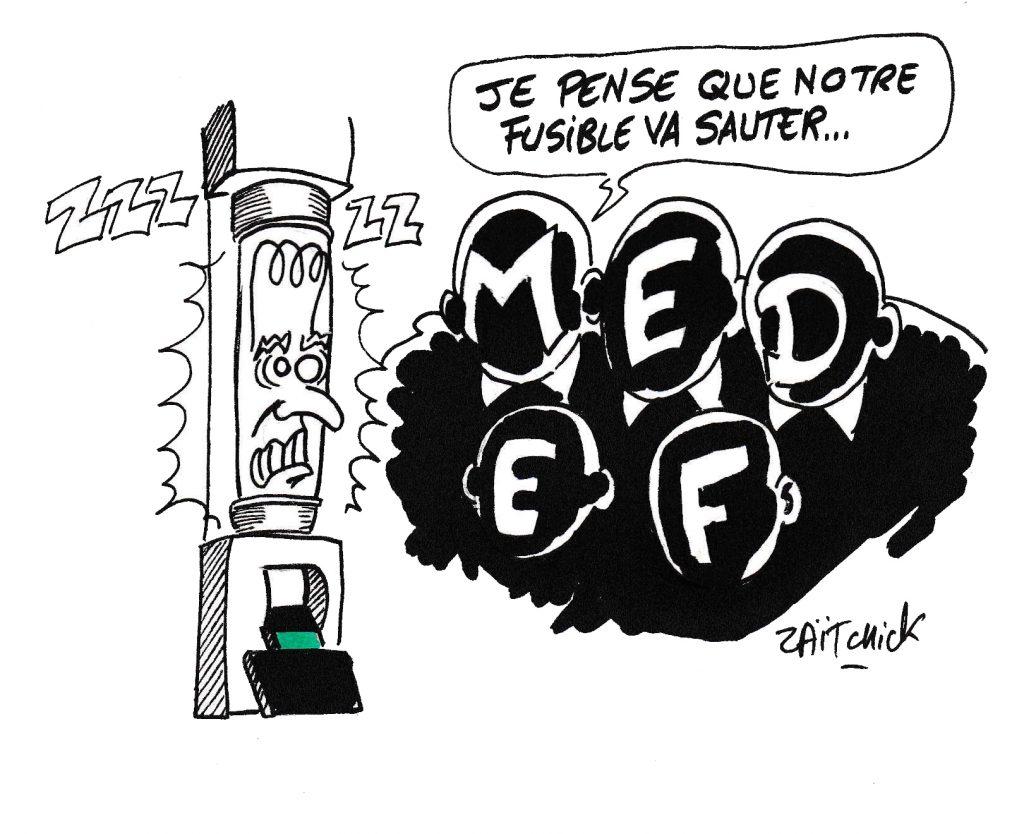 dessin de Zaïtchick sur Emmanuel Macron en fusible sous tension pendant les mouvements sociaux