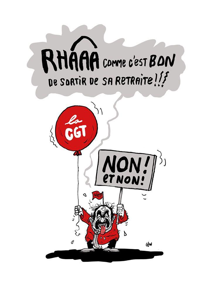 dessin humoristique de Glon sur Philippe Martinez et la grève du 5 décembre