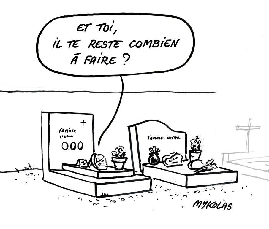 dessin d'actualité humoristique de Mykolas sur la négativité des français selon Emmanuel Macron et la réforme des retraites