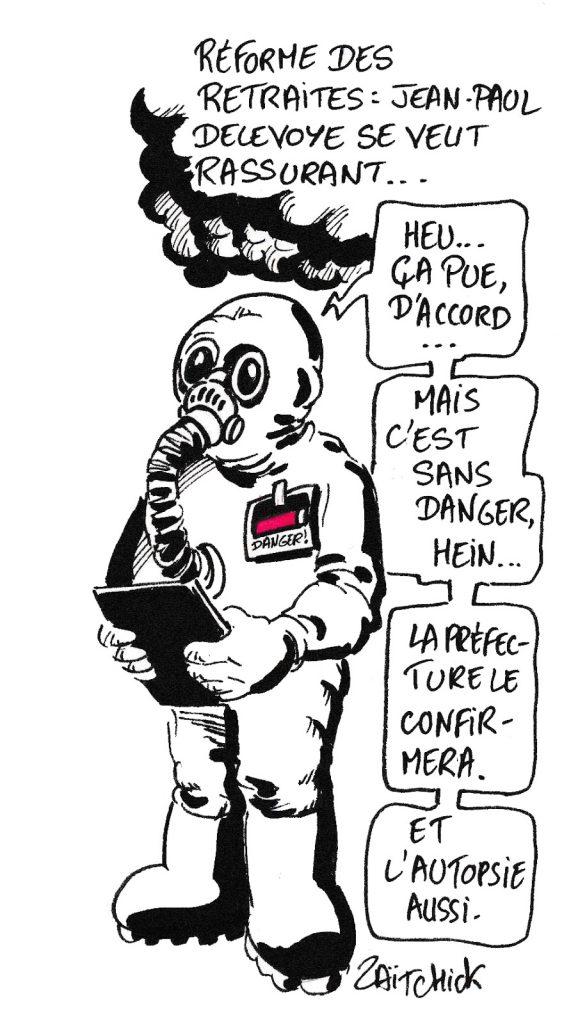 dessin humoristique de Zaïtchick sur l'incendie de Lubrizol et la réforme des retraites menée par Jean-Paul Delevoye