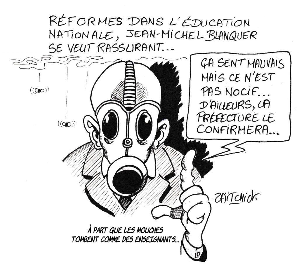 dessin humoristique de Zaïtchick sur l'incendie de Lubrizol et la réforme de l'Éducation Nationale menée par Jean-Michel Blanquer