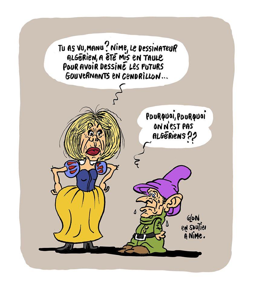 dessin humoristique de Glon sur l'emprisonnement de Nime en Algérie pour avoir caricaturé les hommes politiques algériens