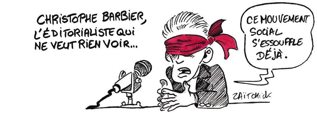 dessin de Zaïtchick sur Christophe Barbier qui commente la grève générale