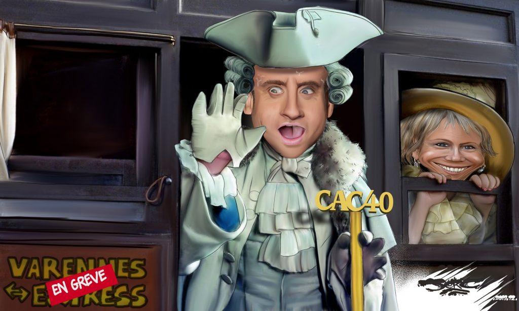 dessin d'actualité humoristique de Jerc sur Emmanuel Macron et Brigitte Macron face aux grèves de décembre