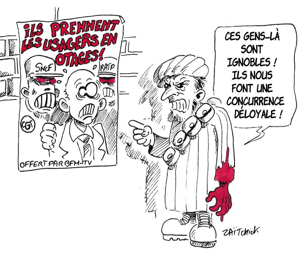 dessin de Zaïtchick sur un terroriste commentant une affiche de propagande anti-grévistes