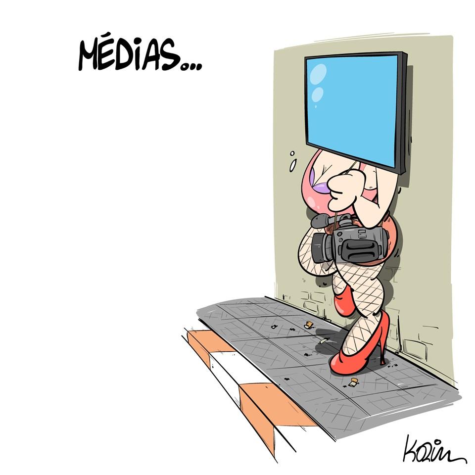 dessin d'actualité humoristique de Karim sur les médias