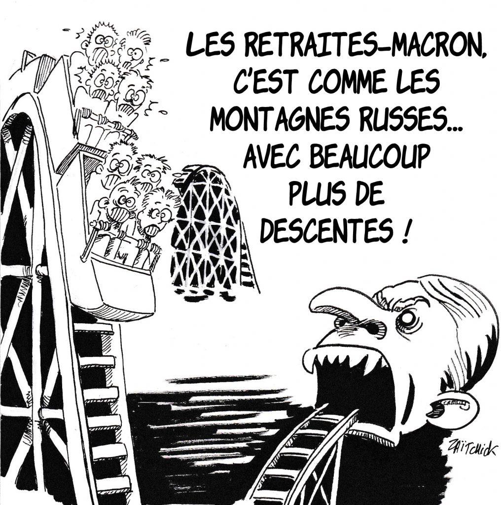 Dessin de Zaïtchick sur les retraités dans des montagnes russes avalés par Emmanuel Macron