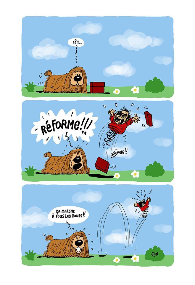 dessin humoristique de Glon sur Le Manège enchanté et Philippe Martinez en Zébulon