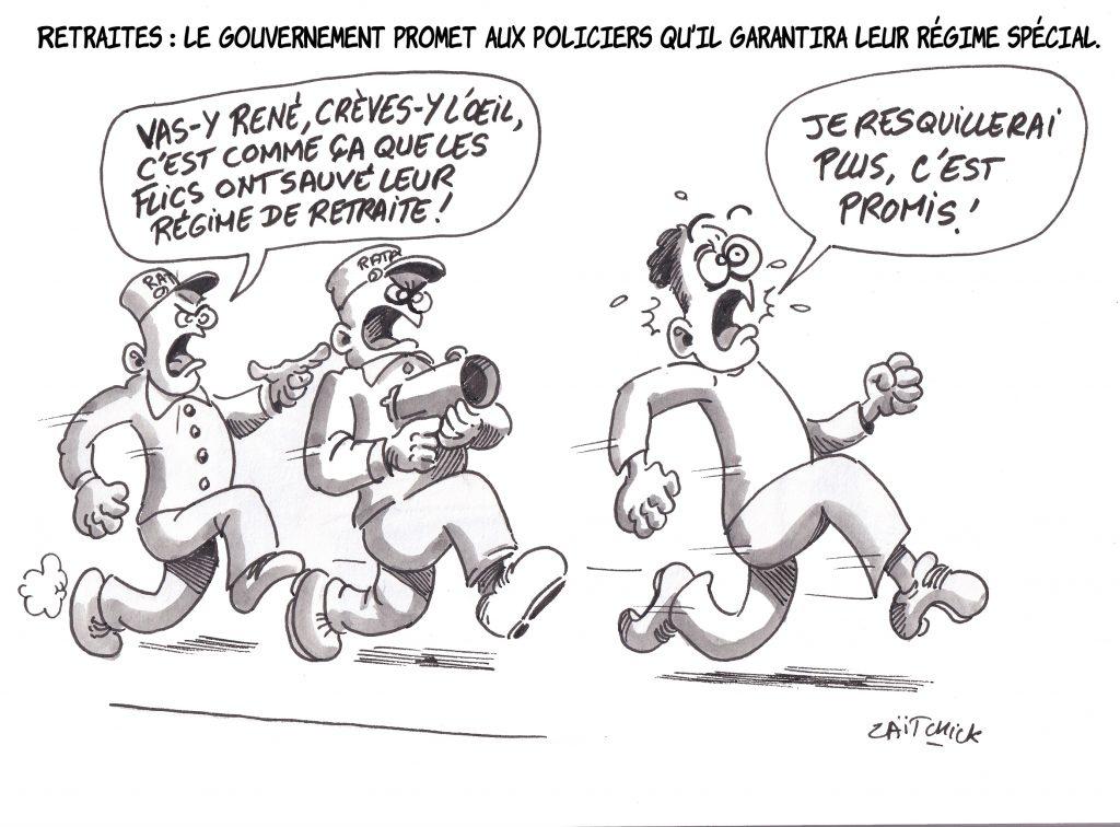 Dessin de Zaïtchick sur la promesse du gouvernement de maintenir le régime spécial de retraite des policiers