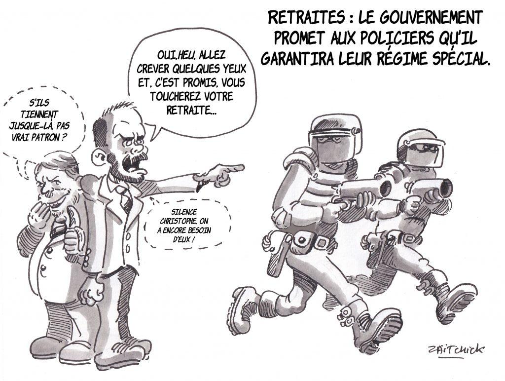 Dessin de Zaïtchick sur Édouard Philippe et Christophe Castaner qui envoient les policiers réprimer les manifestations contre la casse des régimes de retraite en leur promettant de garantir leur régime spécial