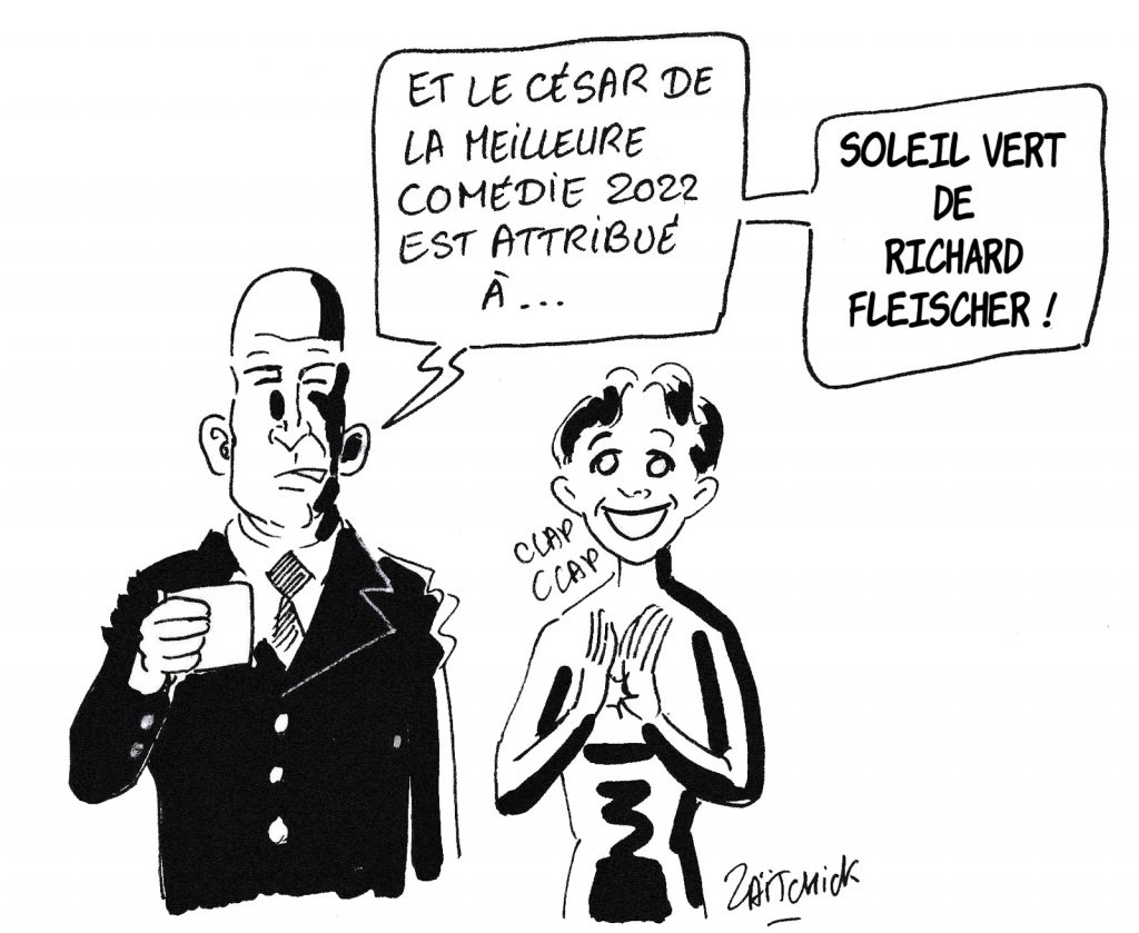 dessin humoristique de Zaïtchick sur Soleil Vert et les dystopies