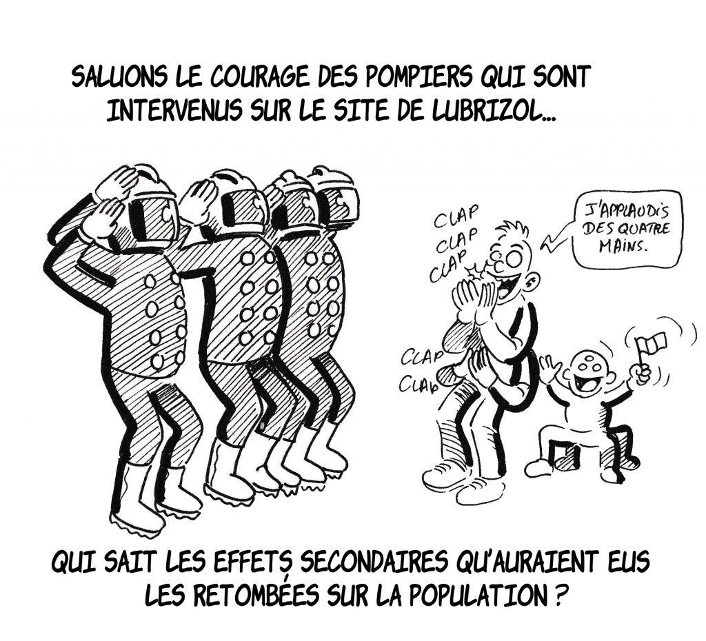 dessin humoristique de Zaïtchick sur les effets secondaires des retombées de Lubrizol