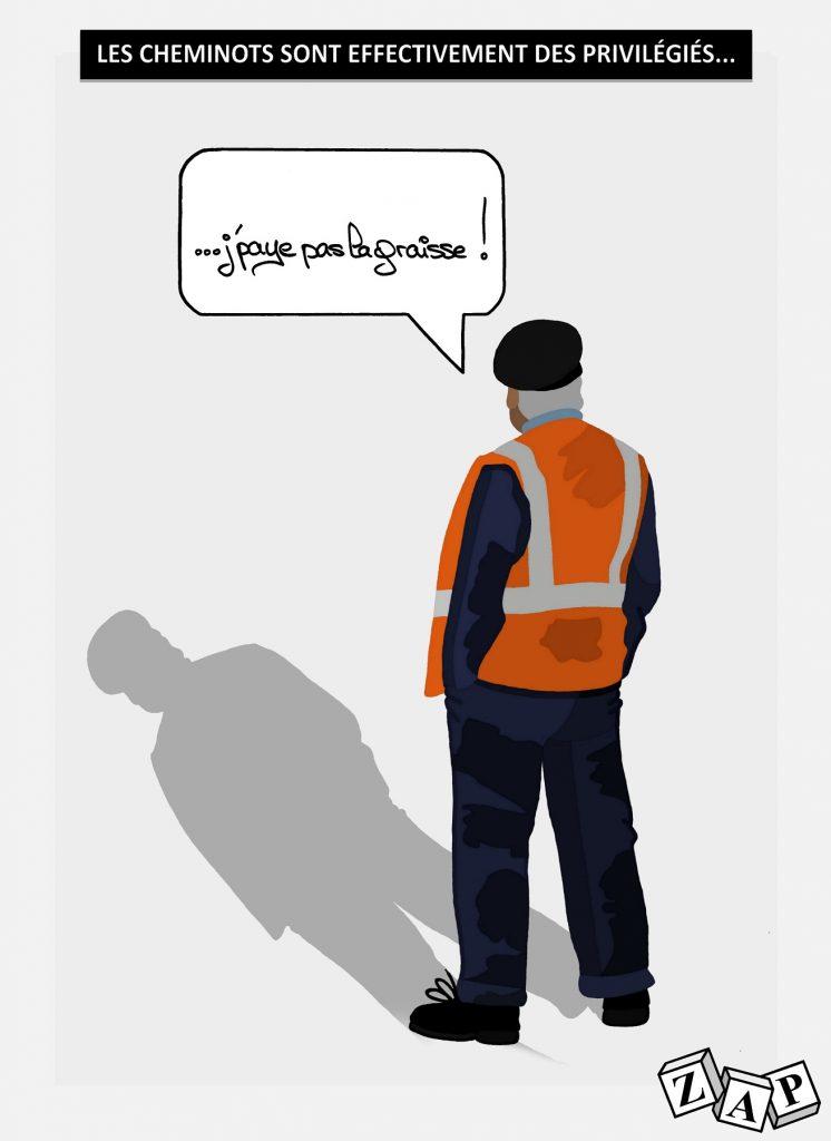 dessin d'actualité de Zap sur le réel privilège des cheminots