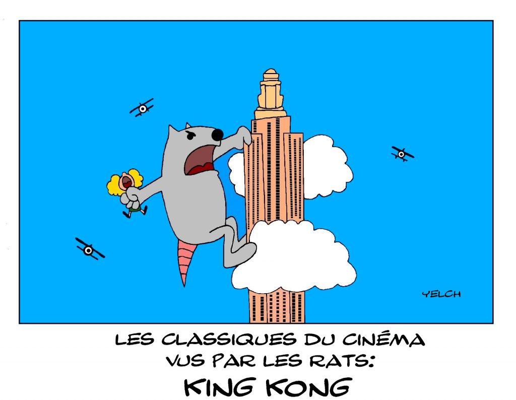 dessin de Yelch sur les classiques du cinéma et King Kong