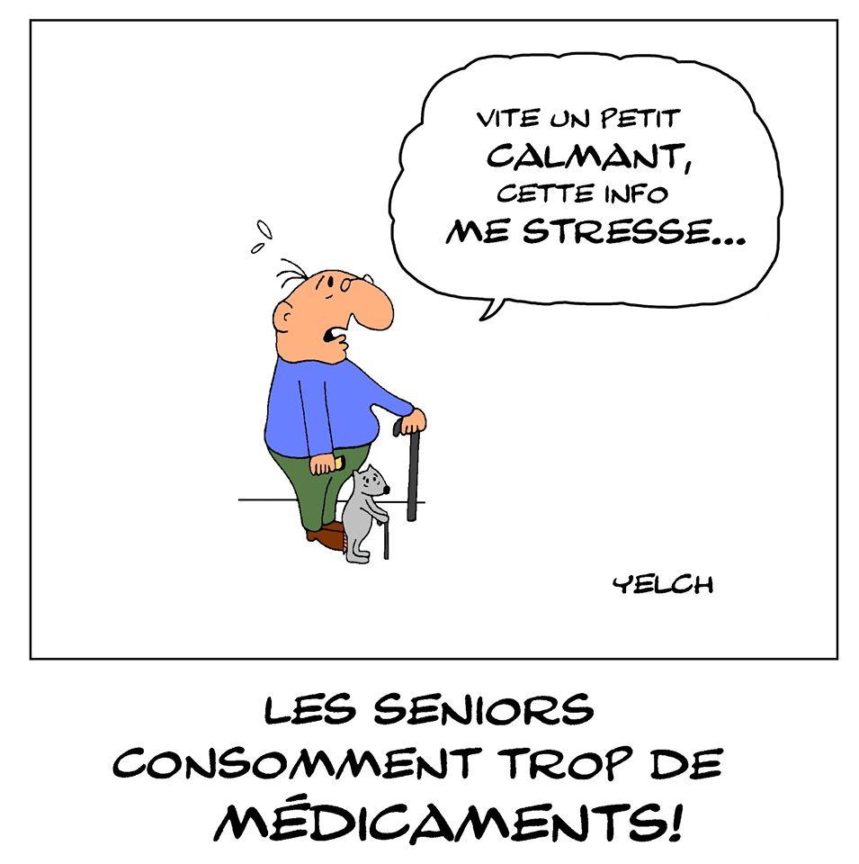 dessin de Yelch sur la surconsommation médicamenteuse des seniors